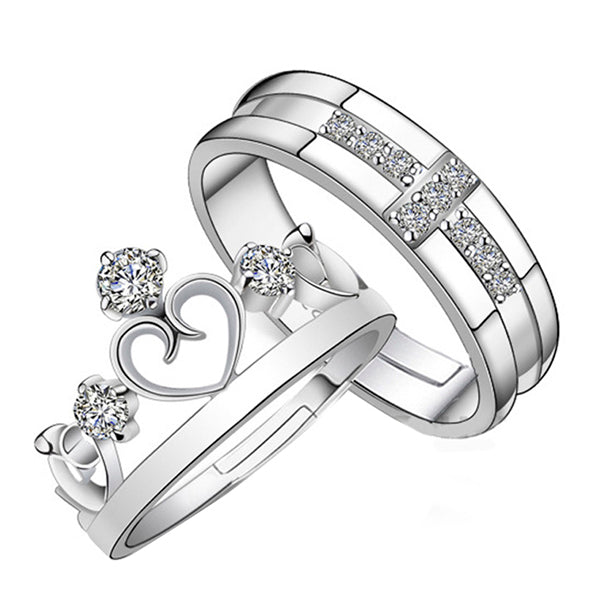 King And Queen Silver Couple Ring