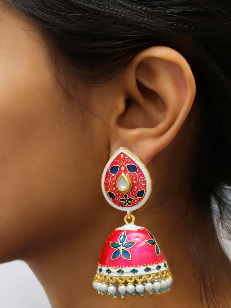 Avismaya Gold Plated Multicolor Tear Design Stud Jhumka Earring-AVISMAYA1-Earring