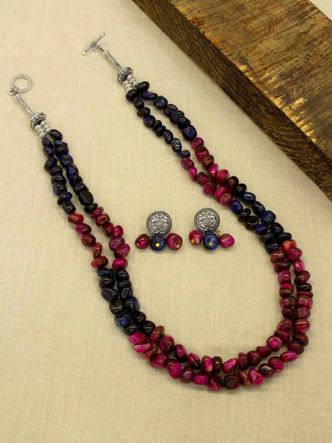 Silver Plated Two Layered Dark Blue And pink Color Semi Precious Chrysicolla Beads Long Necklace Set-JEWEL BOX-Necklace Set