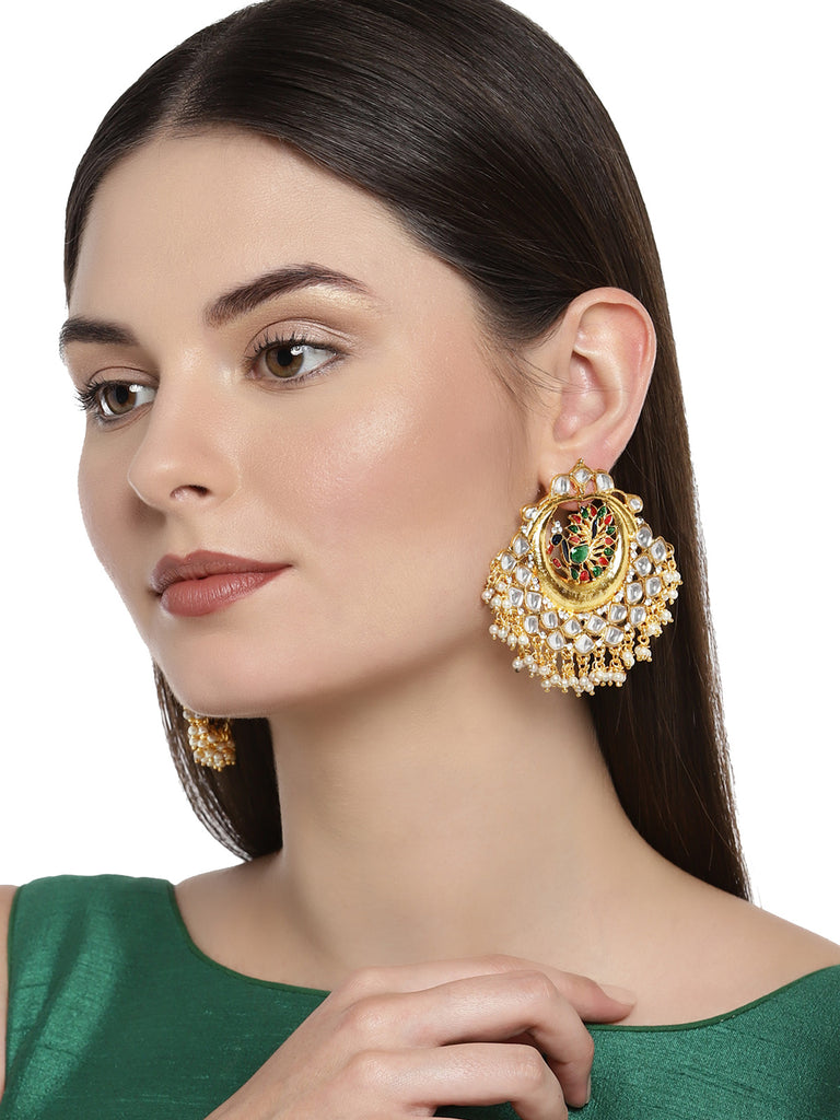 Zaveri Pearls Peacock Inspired Kundan Dangle Earring