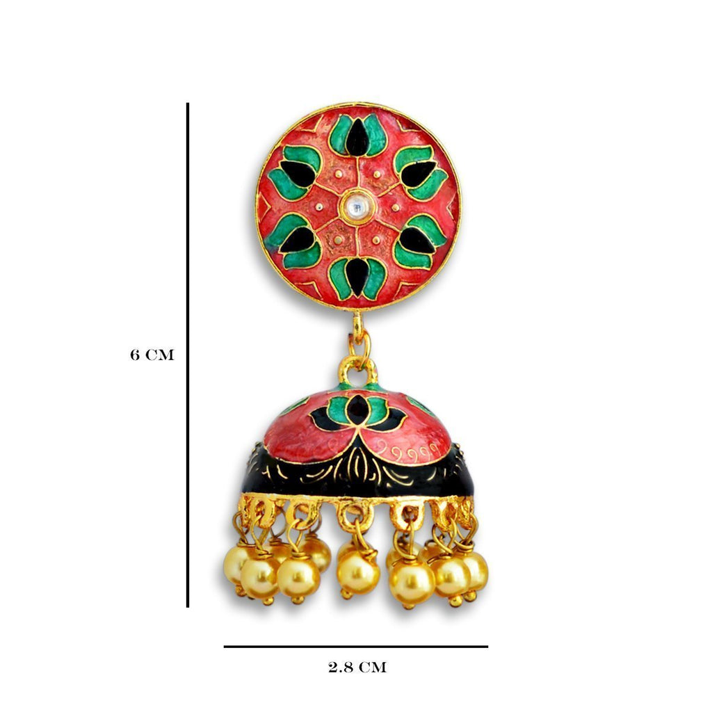 Meenakari lotus design Orange Gold Plated Tokri Jhumka Earring