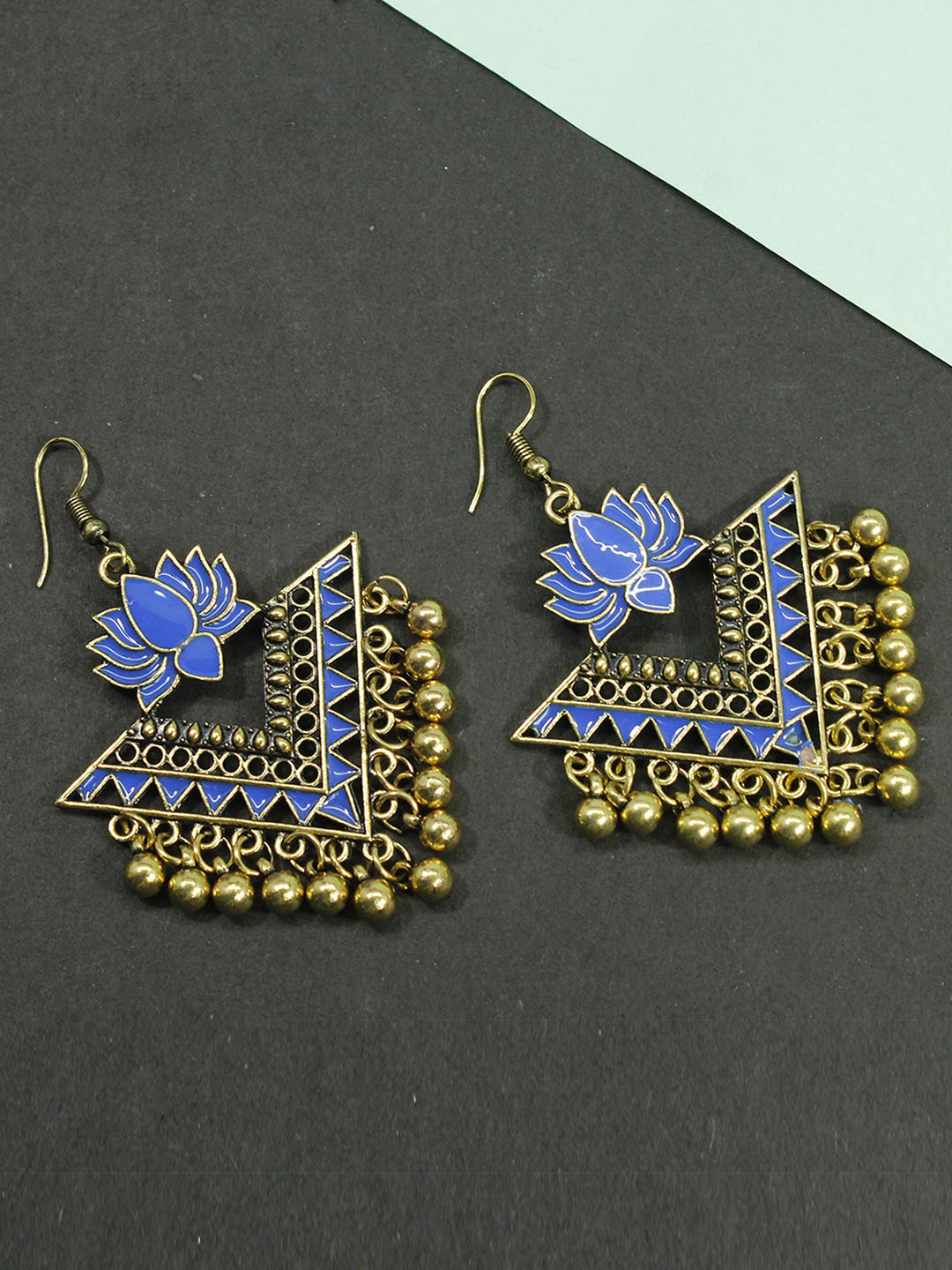 Aana Blue Color Lotus Design Gold Plated Dangler Earring