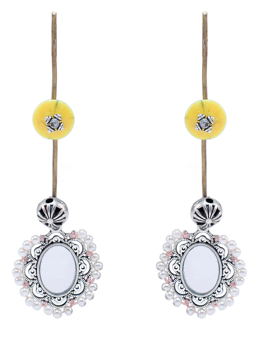 Peach Mirror Embroidered Dangler Earring-ANETRA1-Earring