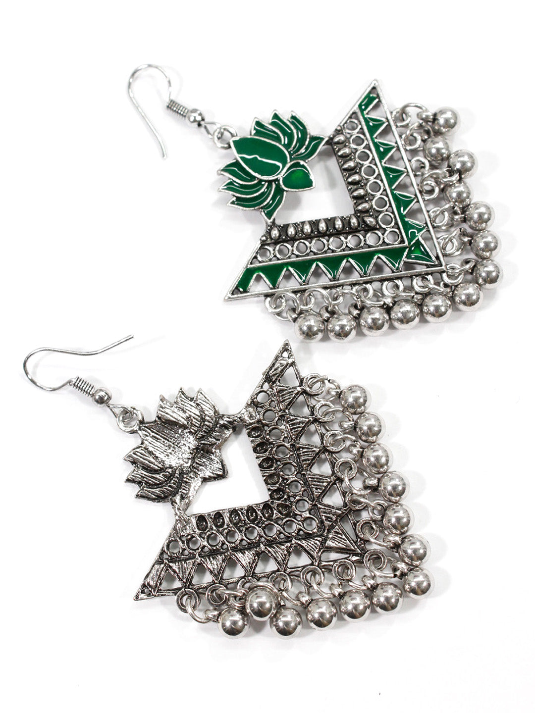Aana Silver Plated Green Color Lotus Design Afghani Earring-AANA1-Earring