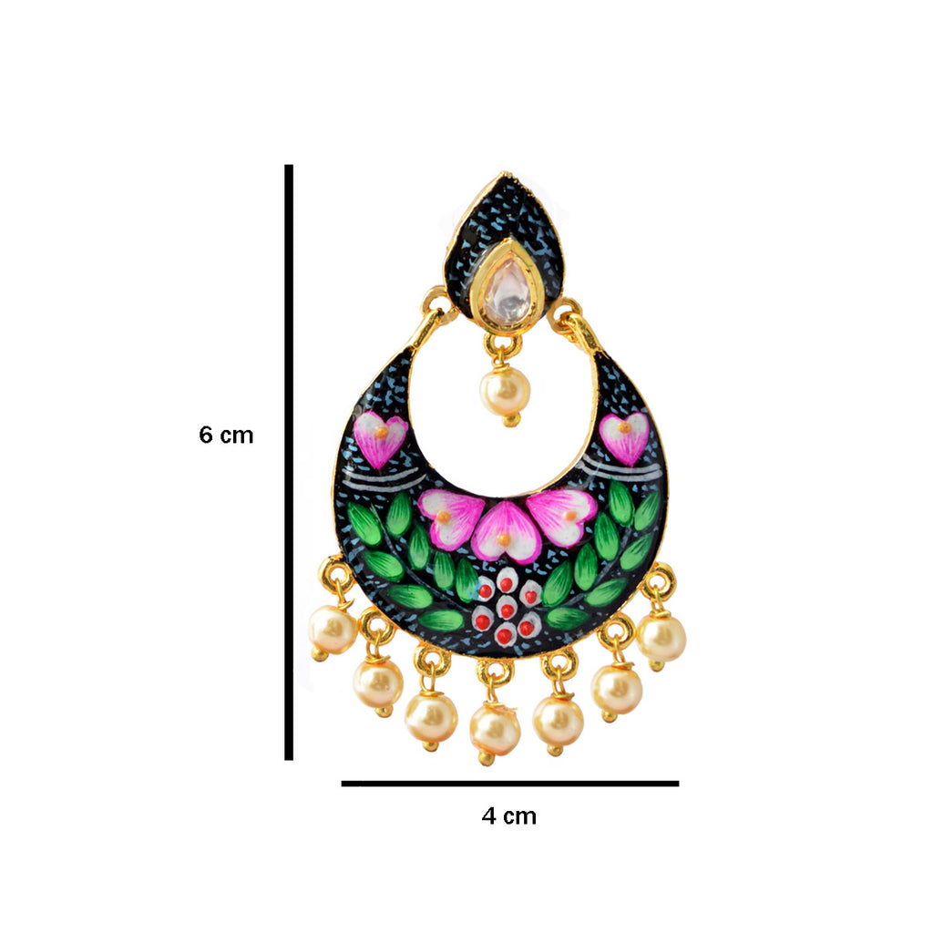 Green And Pink Color Floral Design Meenakari Dangler Stud Earring With Kundan Stone