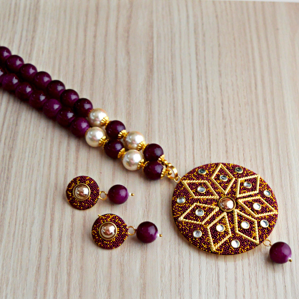 Purple Colour Beads Floral Design With Kundan Meenakari Necklace Set
