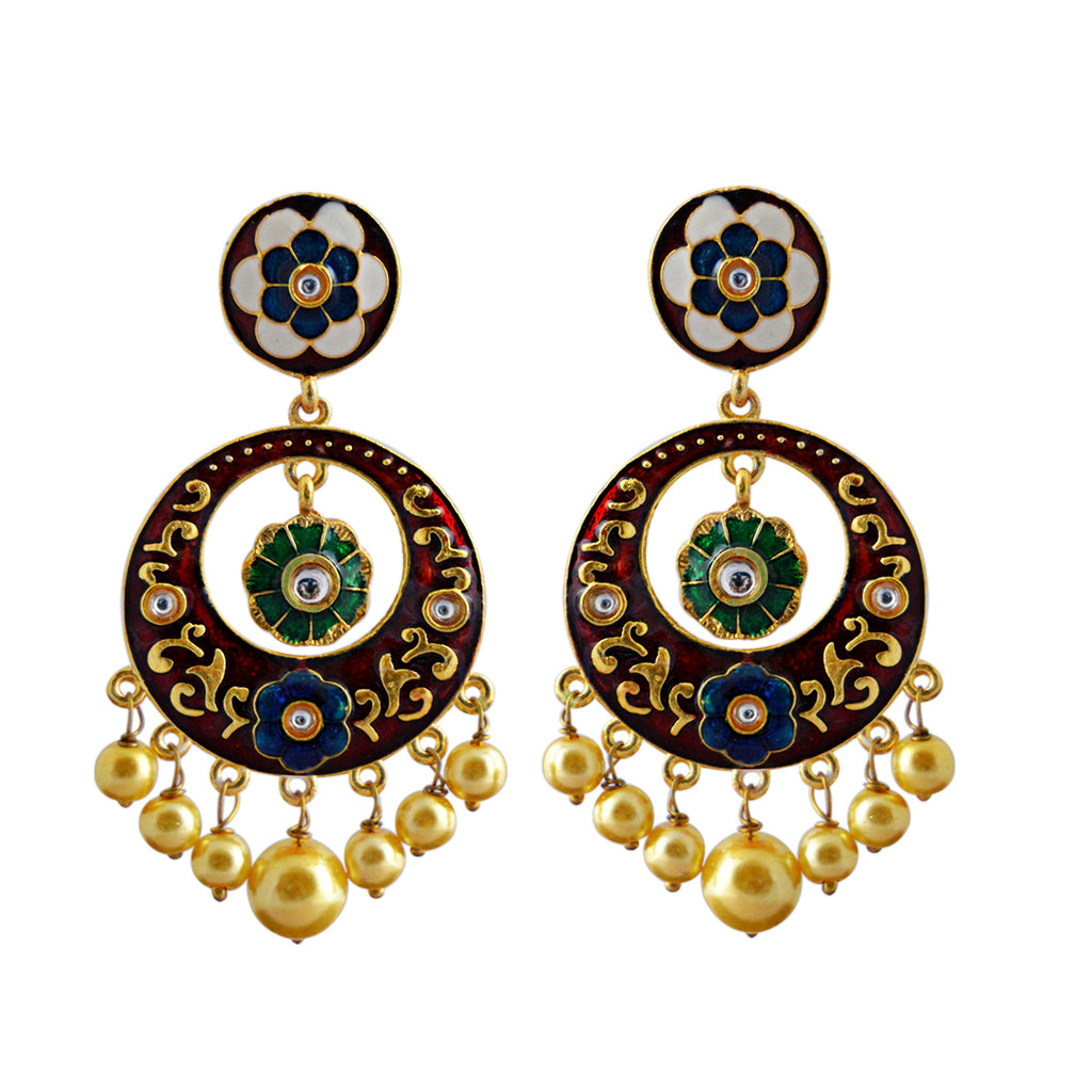 Floral Design Maroon Color With Kundan Stone Dangler Earring-MK JEWELLERS1-Earring