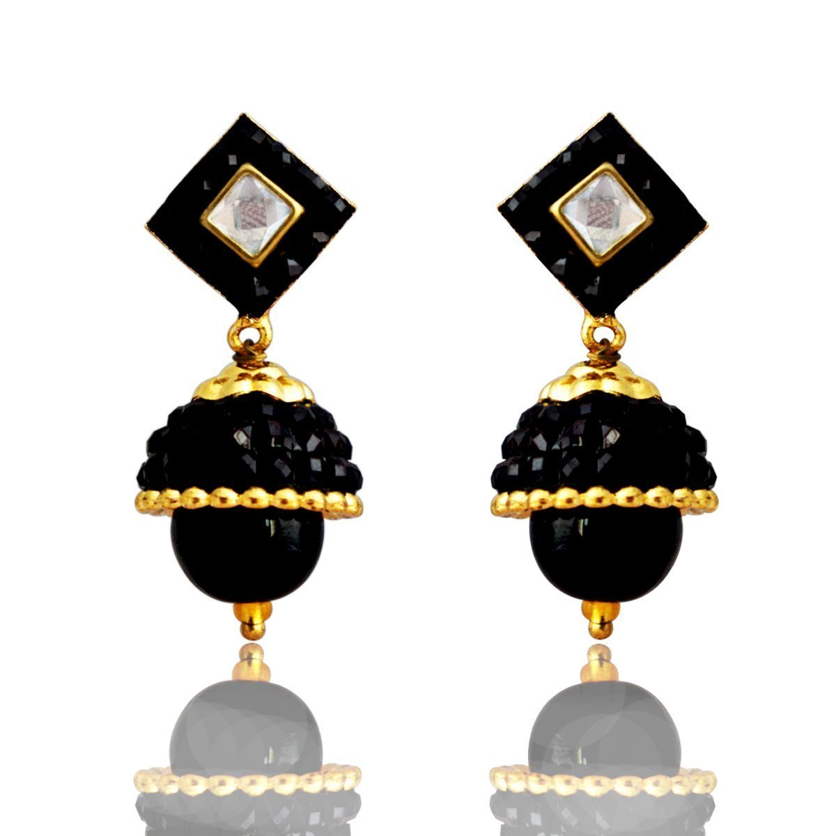 Fashion Earring Traditional Kundan Glass Beads Black Earring