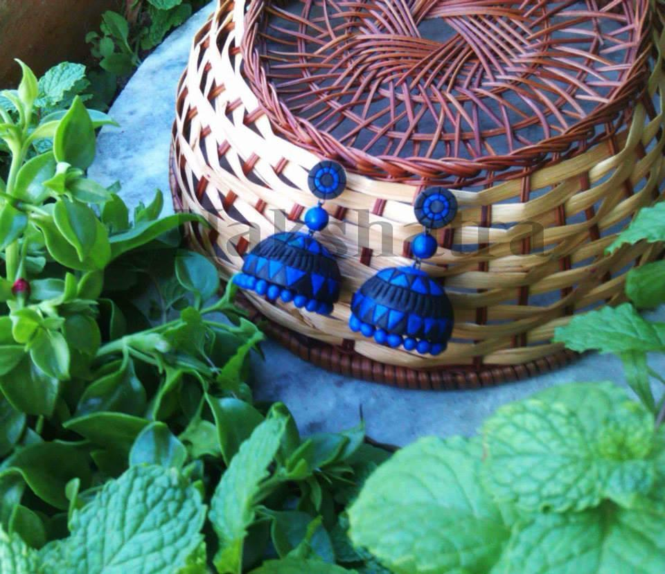 Blue And Black Terracotta Jhumka By Nakshatra