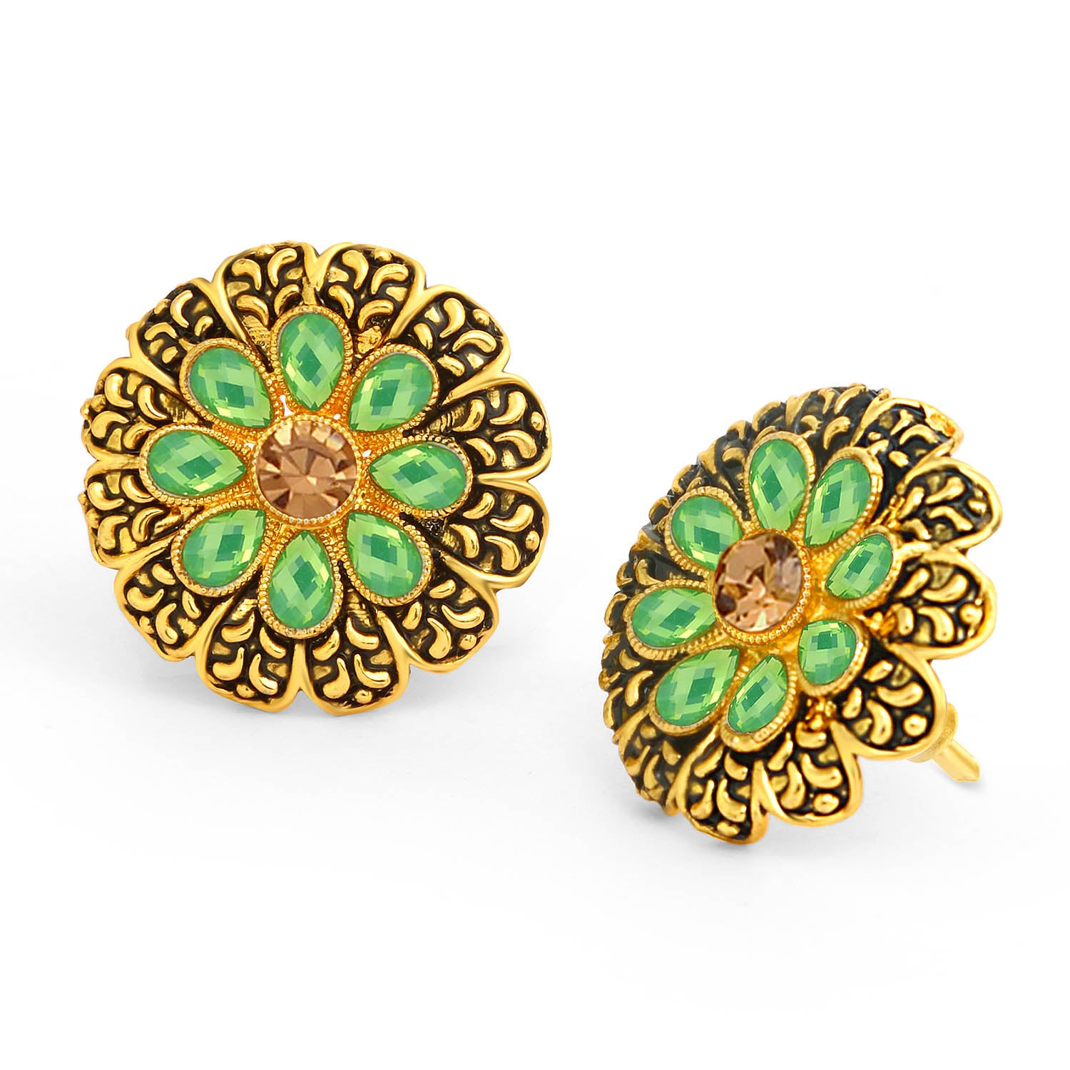 Sukkhi Spectacular LCT Stone Gold Plated Floral Stud Earring For Women-SUKKHI1-Earring
