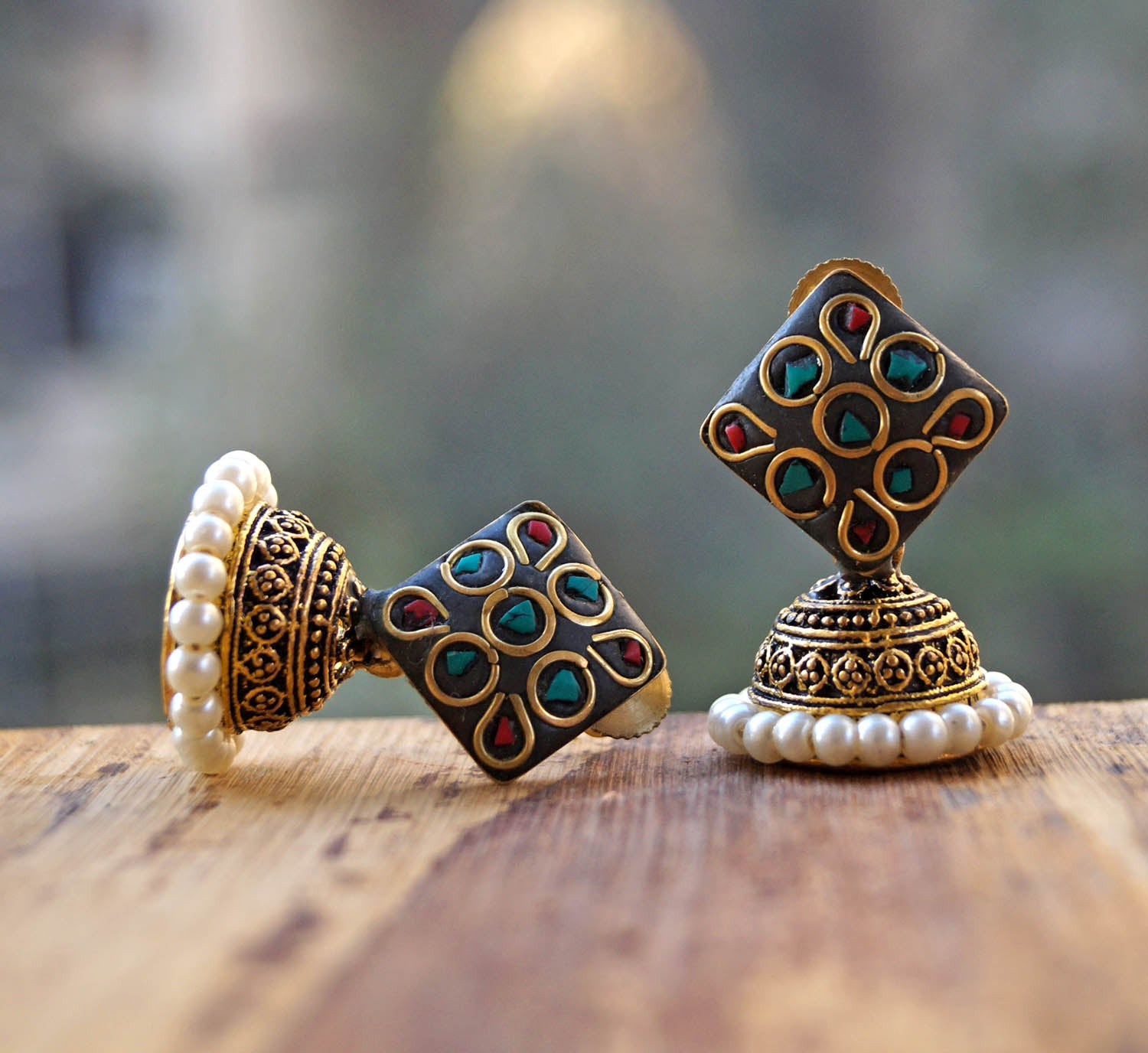 Rectangular Lakh Jhumka Red And Green Earring-ANETRA1-Earring