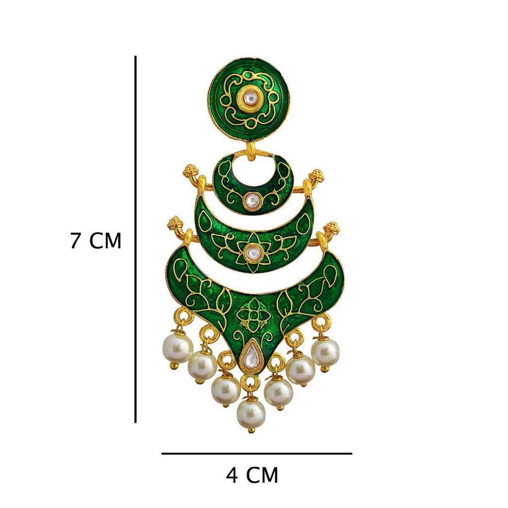Classic Meenakari Green Double Layer Gold Plated Chaand Bali Dangler Earring