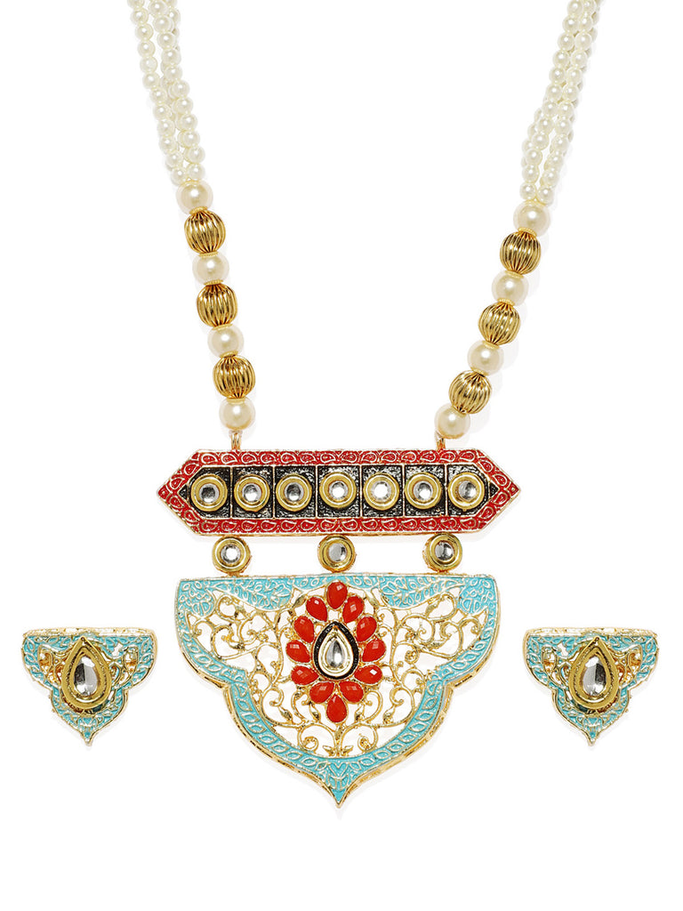 Zaveri Pearls Antique Gold Tone Traditional Moti Mala And Kundan Necklace Set-ZAVERI PEARLS1-Necklace Set