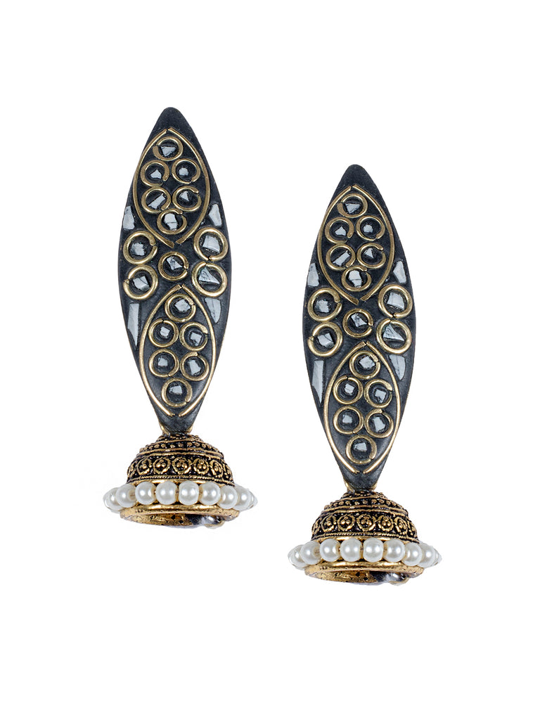 White Colour Spherical Jhumka Earring