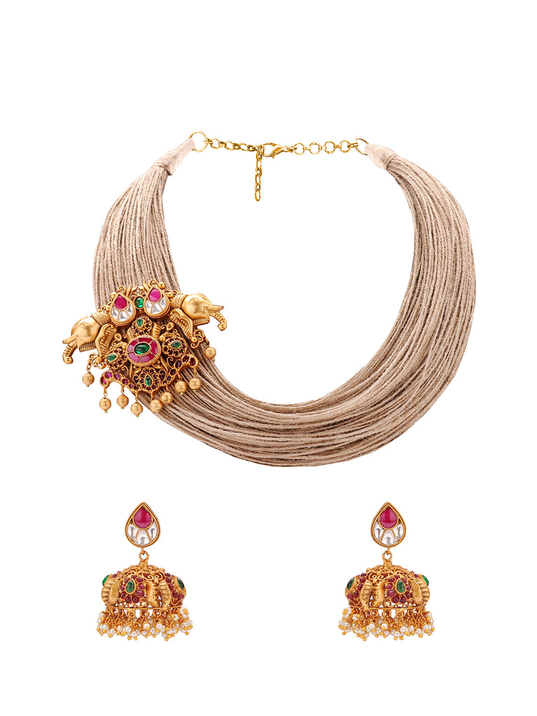 Joules By Radhika Multilayered Enamel Presence Jute Thread With Gold Plated Temple Pendant Necklace Set-JOULES BY RADHIKA-Necklace Set