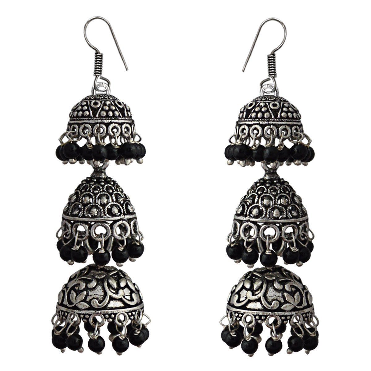 Oxidized German Silver Tribal Designer 3 layered Tokri Jhumka Earring