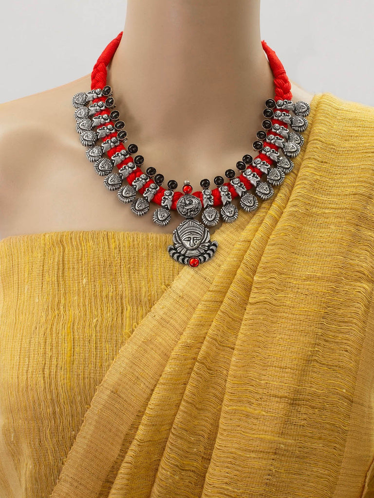 Oxidized German Silver Durgama Design Choker Necklace Set With Nose Pin-OXIDIZED-Jewellery Set