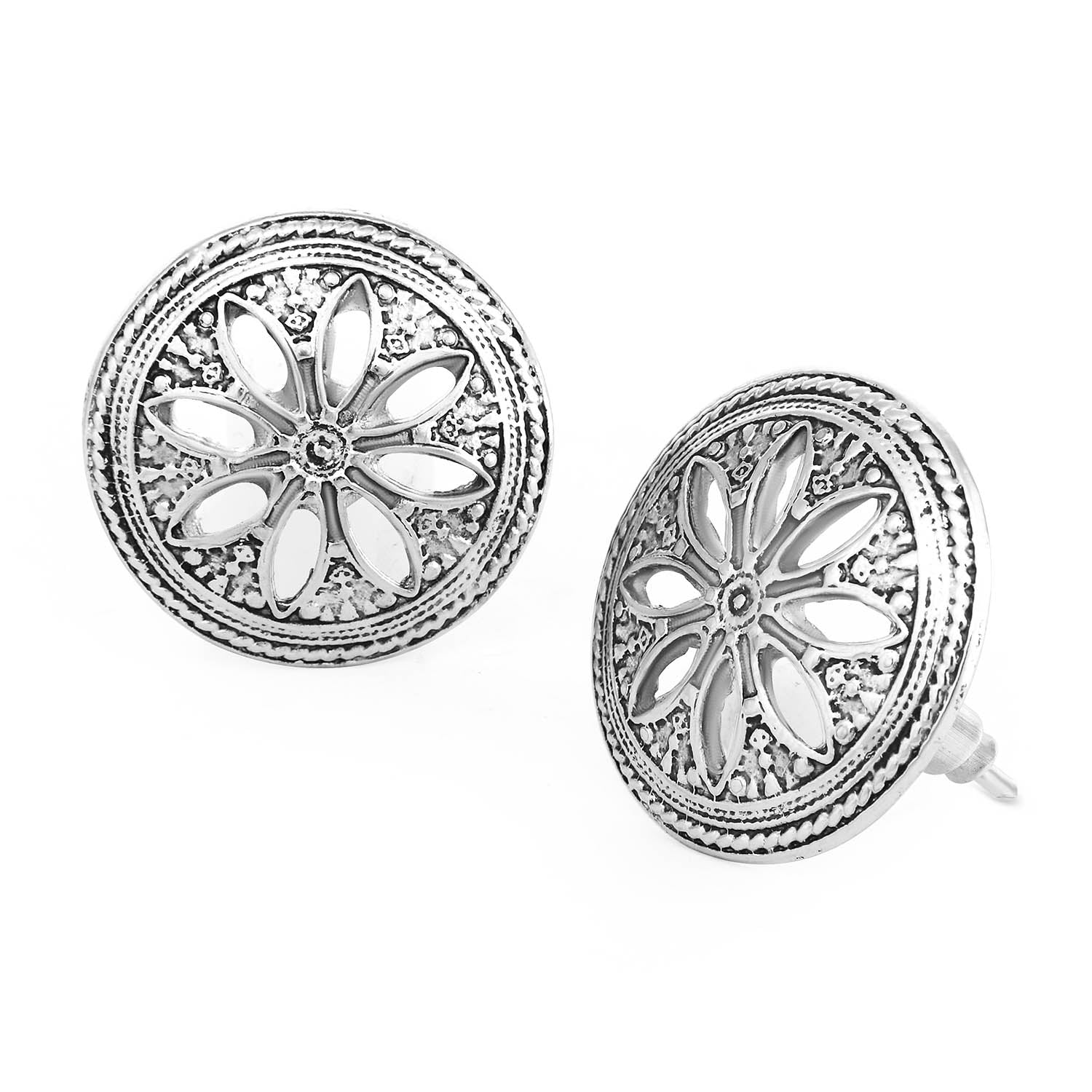 Sukkhi Amazing Oxidised Floral Stud Earring For Women-SUKKHI1-Earring