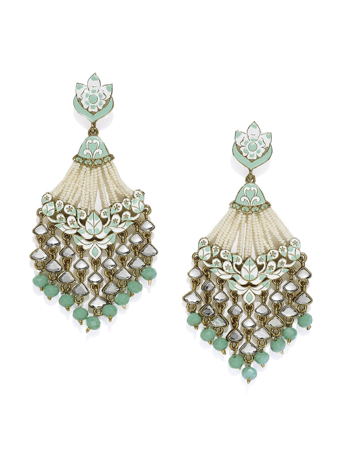 Antique Gold Tone Embellished With Pearls And Meenakari Dangler Earring