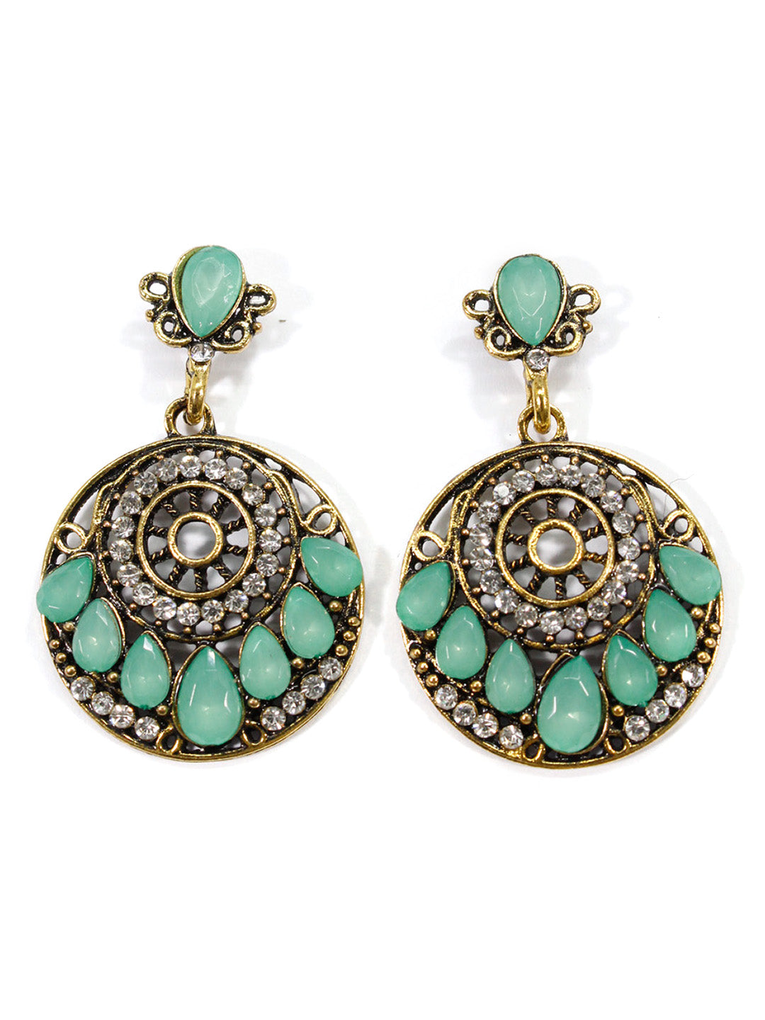 Aana Green Color Geometric Design Earring-AANA1-Earring