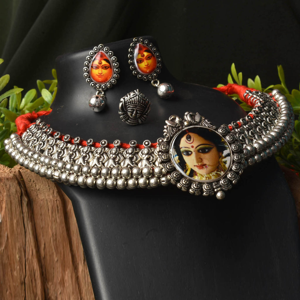 Oxidised German Silver Wajratika Thusi Choker Necklace Set With Nose Pin