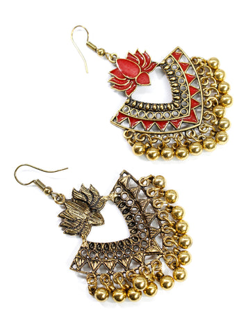 Aana Gold Plated Red Color Lotus Design Afghani Earring