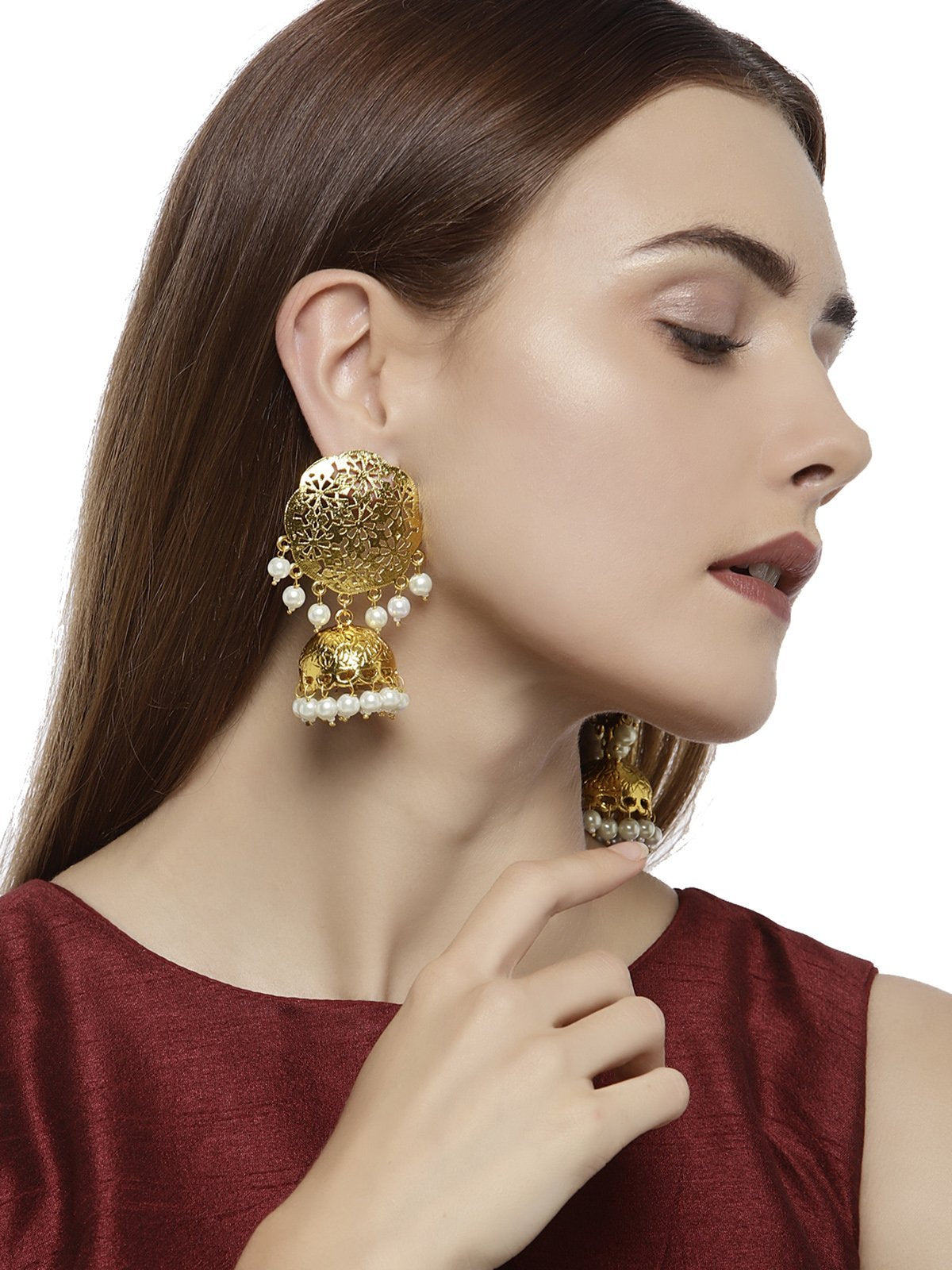 Gold Tone Cut Work Traditional Jhumka Earring