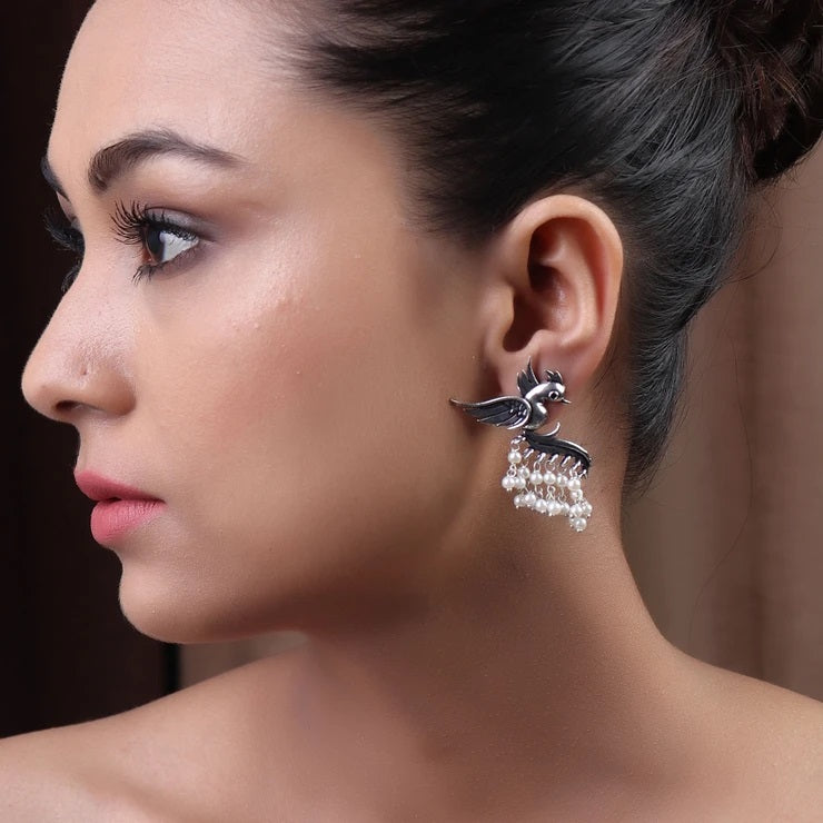 Cippele Fly With The Bird Silver Look Alike Earring With White Color Pearls Dangler Earring-CIPPELE-Earring