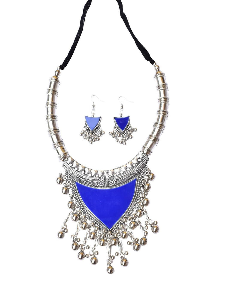 Oxidized Metal Navratri Blue Color Necklace Set