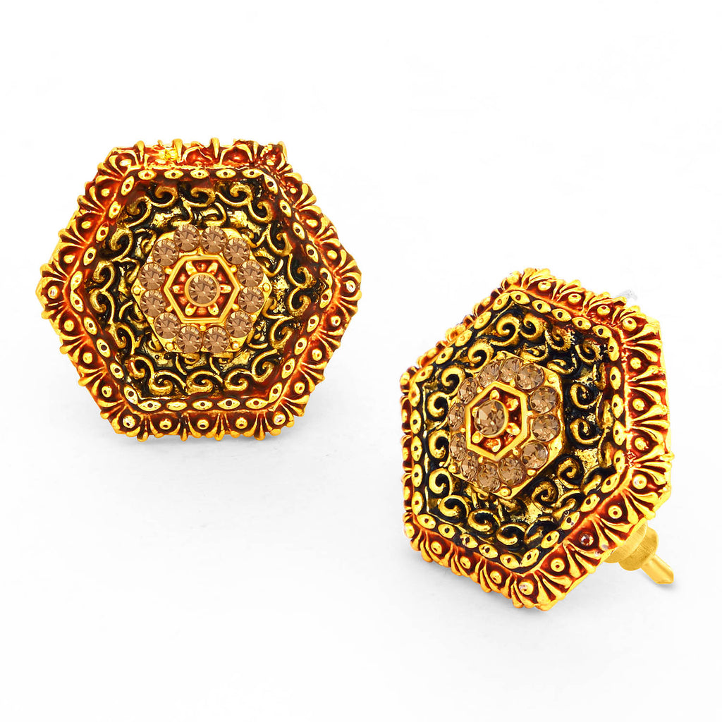 Sukkhi Sparkly LCT Stone Gold Plated Hexagonal Red Mint Meena Collection Earring For Women-SUKKHI1-Earring