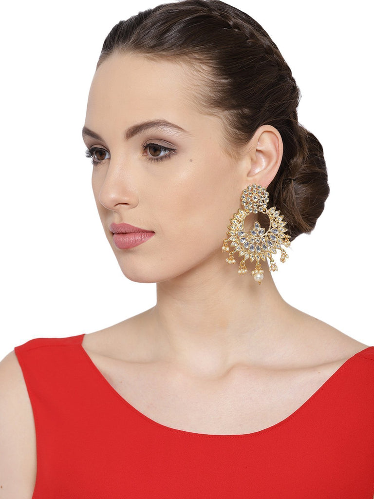 Zaveri Pearls Gold Tone Traditional Kundan And Pearl Dangle Earring