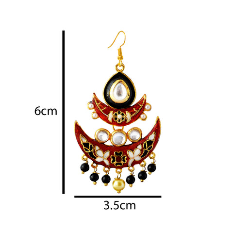 Maroon And Black Meenakari Tribal Dual Half Moon Design With Kundan Earring