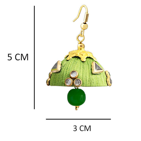 Gorgeous Dangling Drop Beads Green Silk Tokri Jhumki Earring