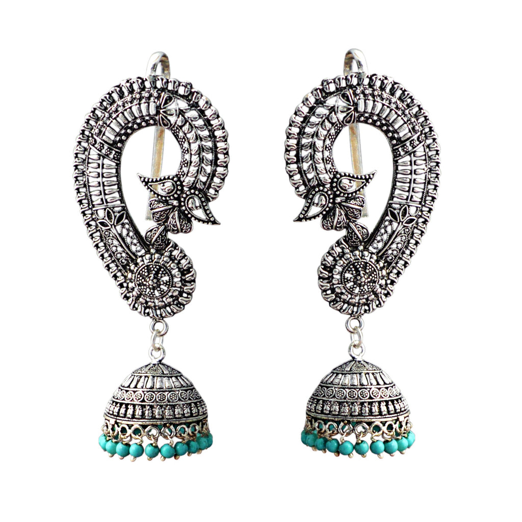 Designer German Silver Ear Cuffs With Dome Jhumka