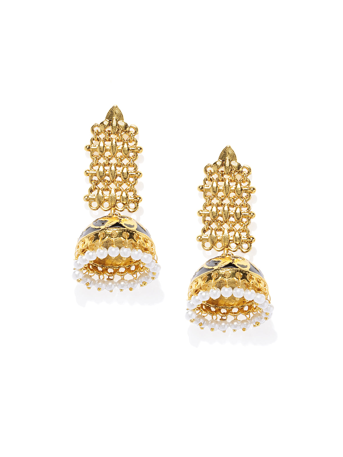 Zaveri Pearls Gold Tone Traditional Meenakari Jhumki Earring