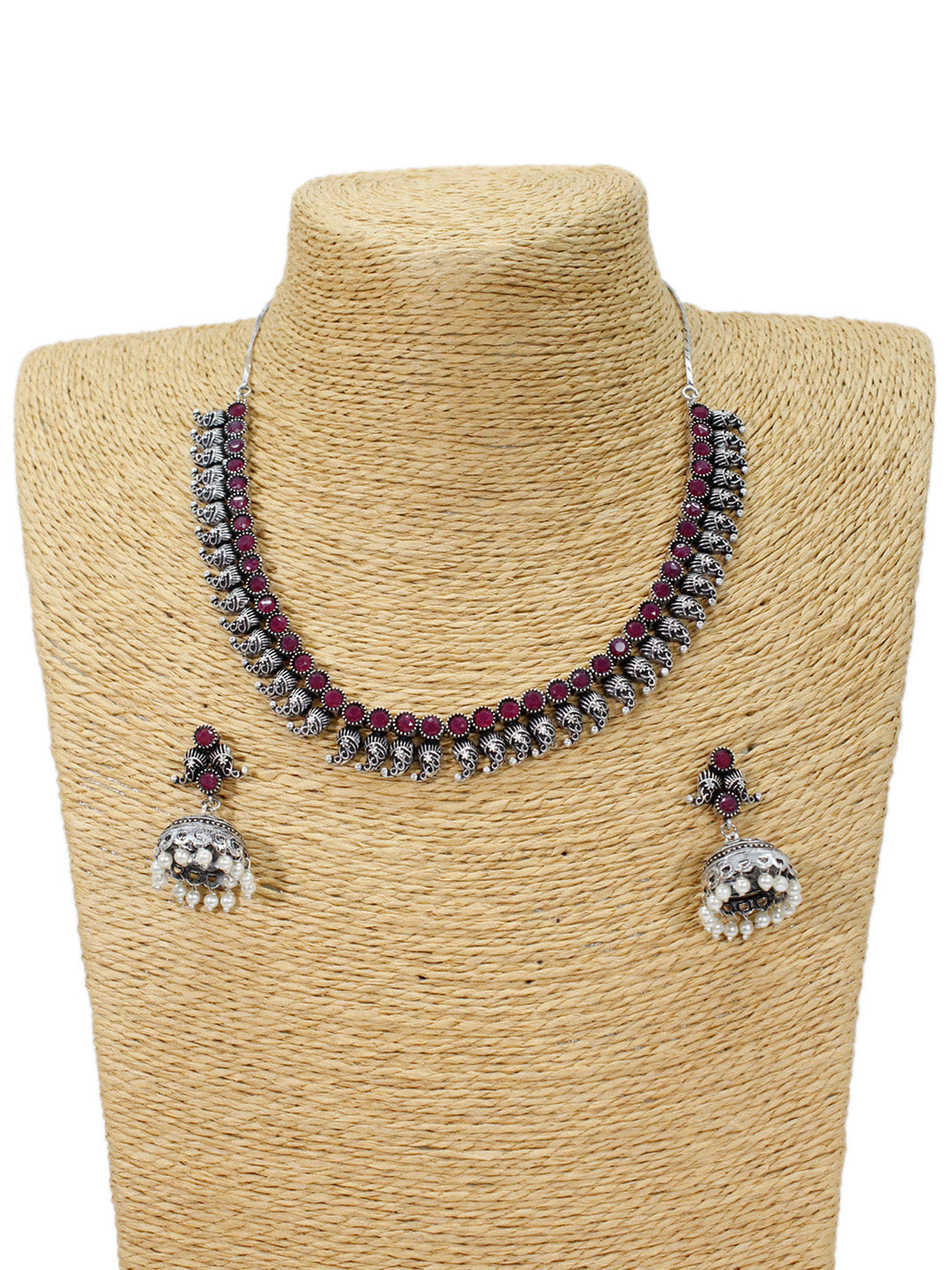 Oxidized Red Color Geometric Design Choker Necklace Set-OXIDIZED1-Necklace Set