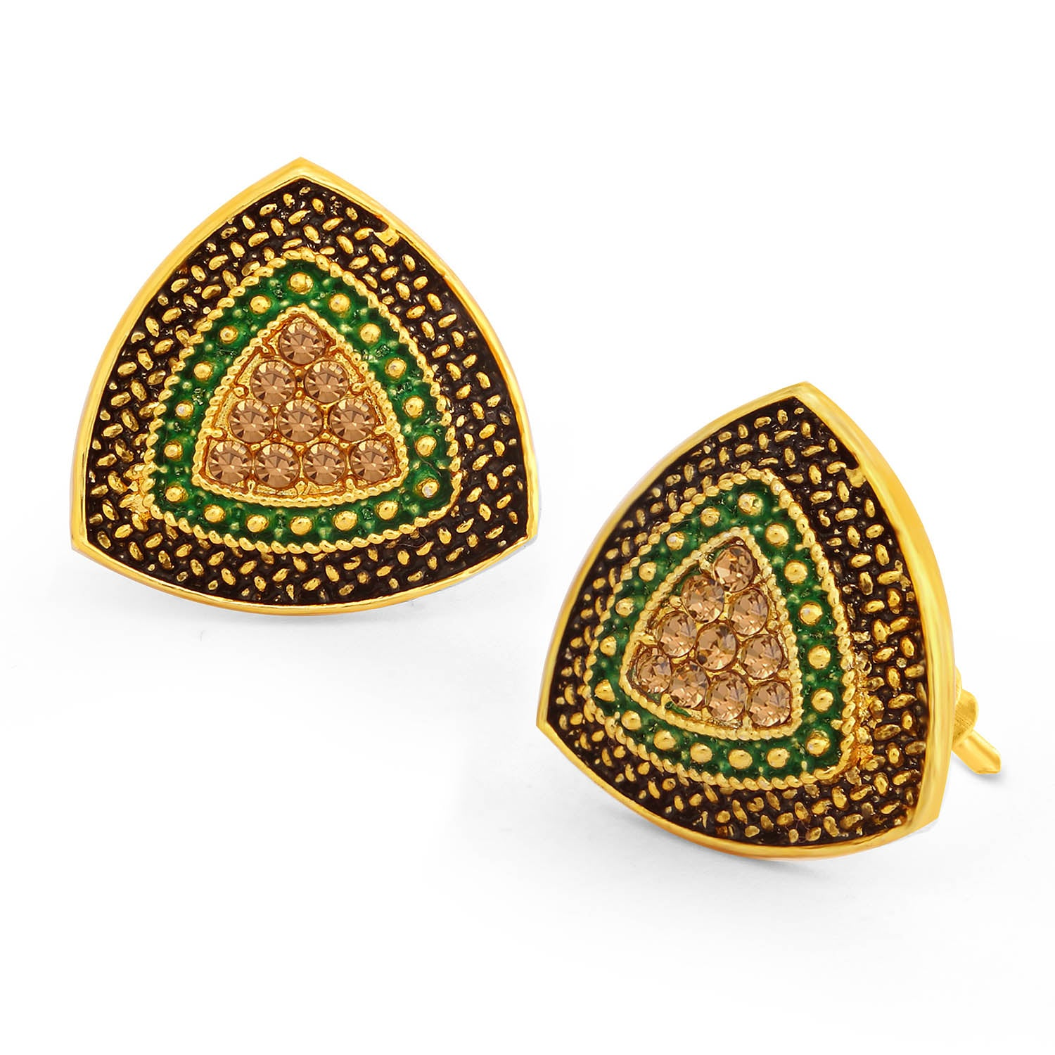 Sukkhi Charming LCT Stone Gold Plated Green Mint Meena Collection Stud Earring For Women-SUKKHI1-Earring