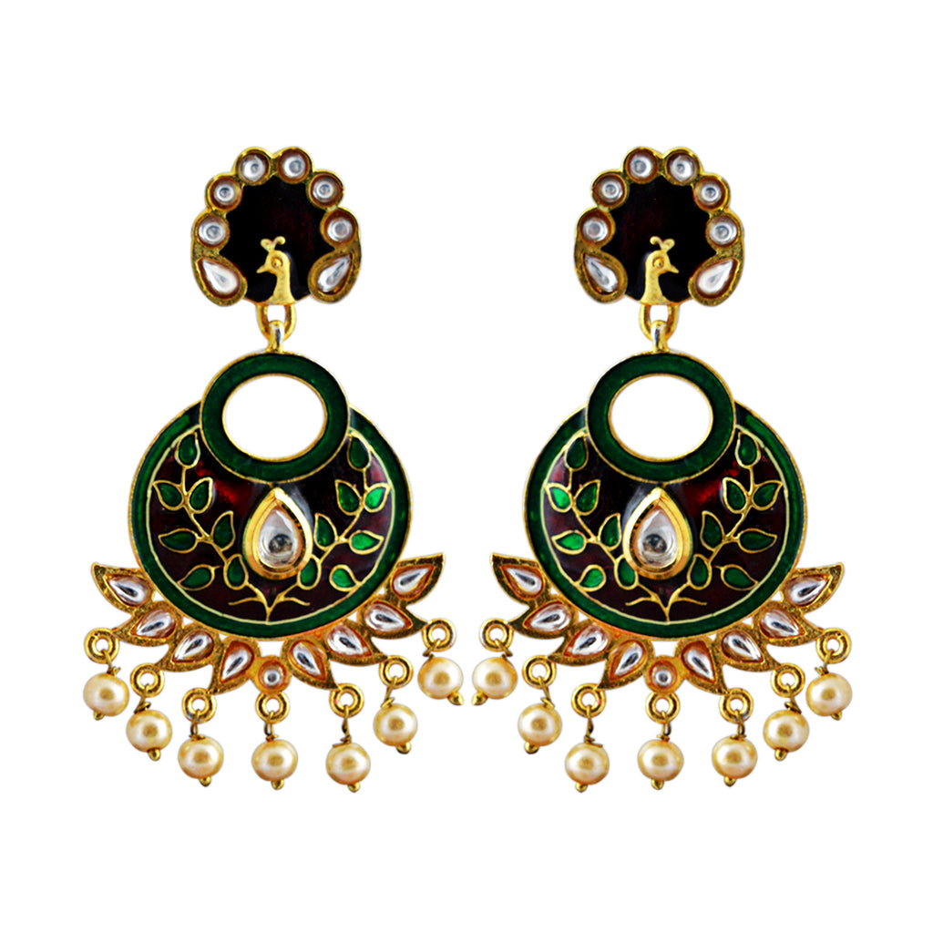 Maroon And Green Color Peacock Design With Kundan Stone Meenakari Dangler Earring-MK JEWELLERS1-Earring