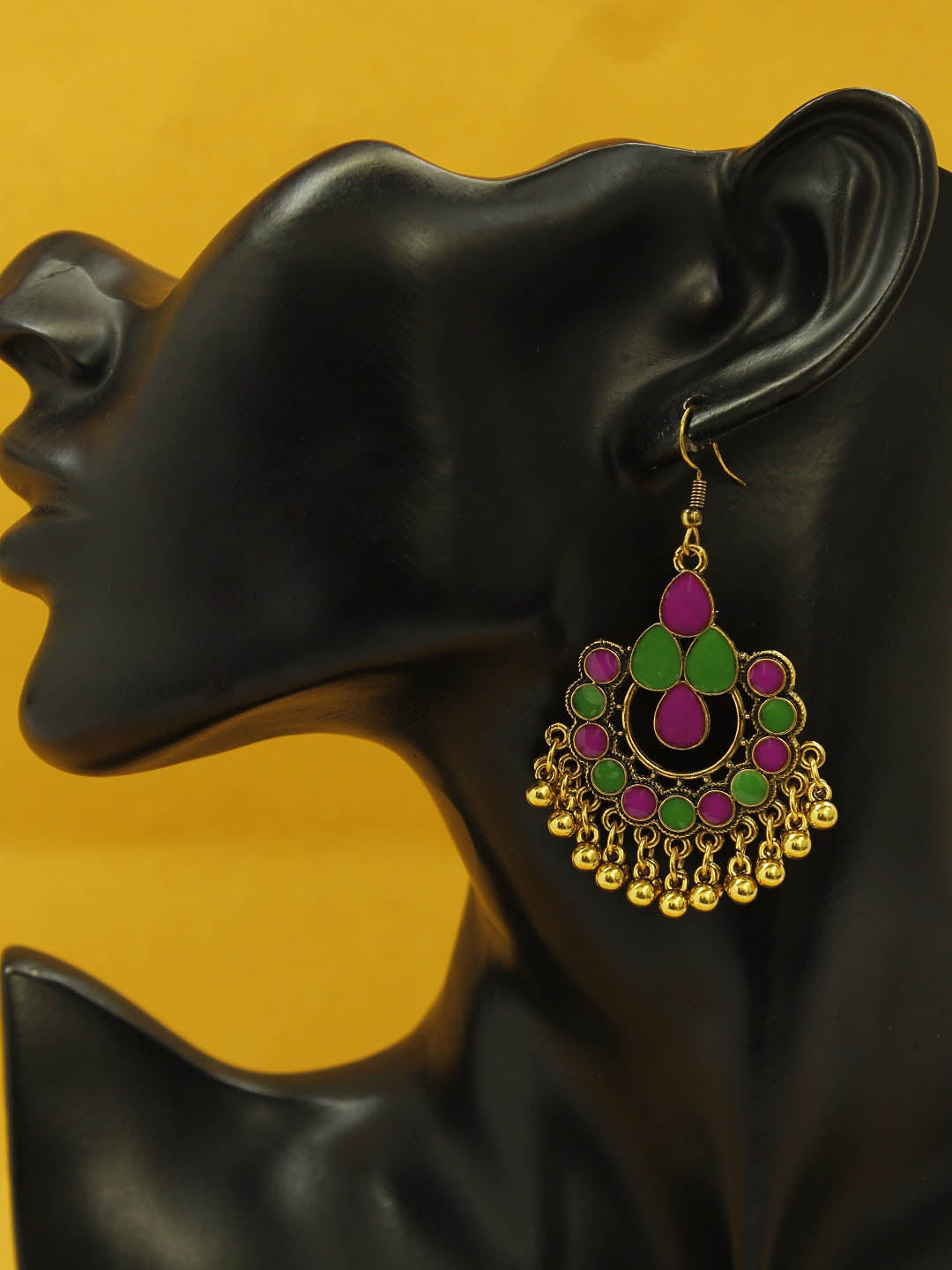 Aana Gold Plating Green And Pink Color Floral Design Afghani Earring-AANA-Earring
