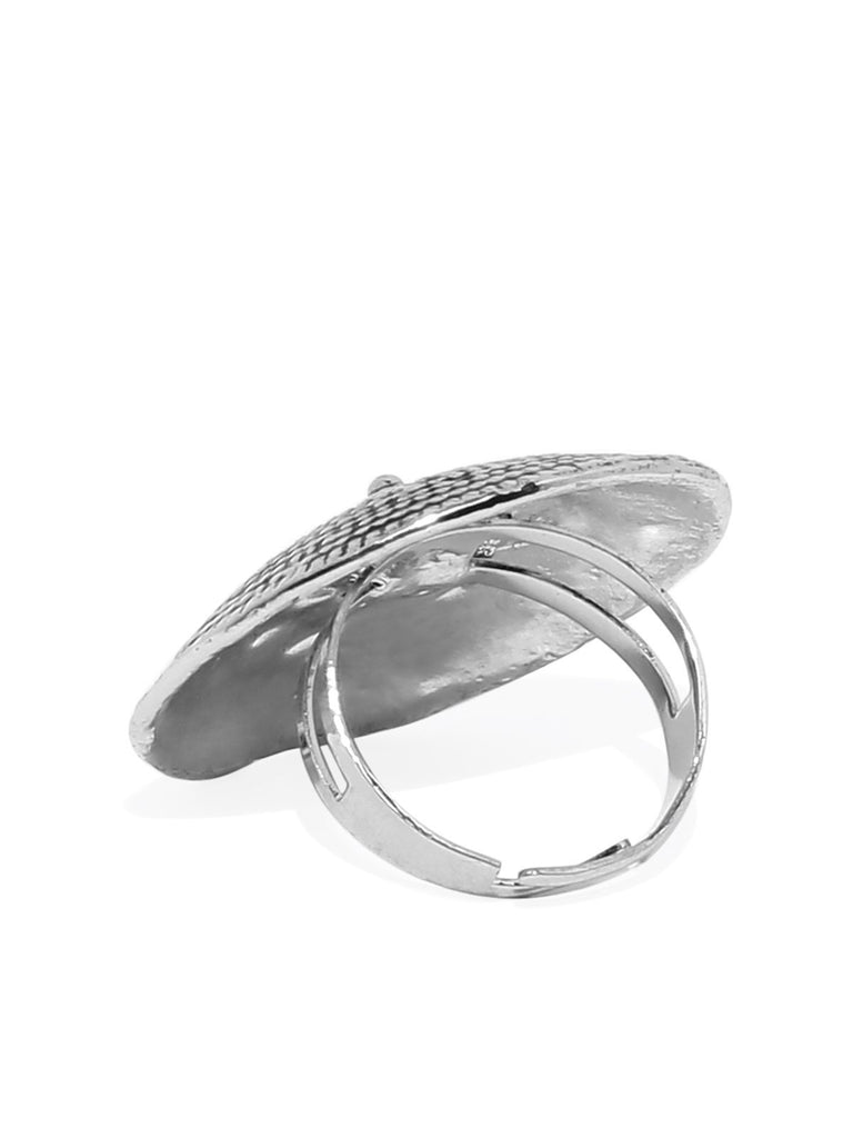 Antique Silver Tone Fashion Forward Finger Ring
