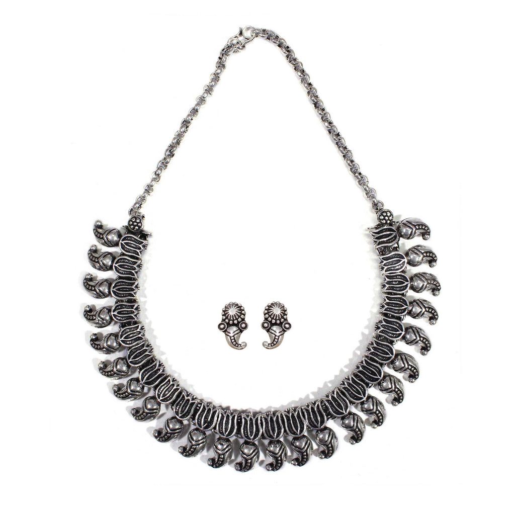 Oxidised German Silver Lotus and Mango Design Shape Choker Necklace Set