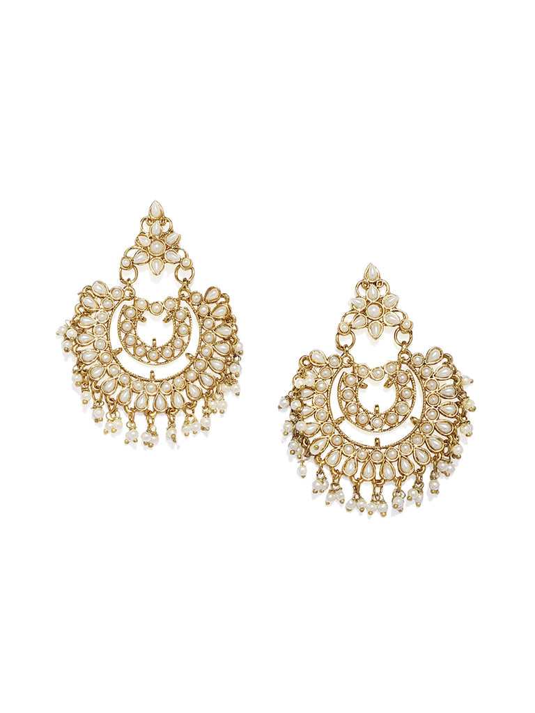 Zaveri Pearls Antique Gold Plated Dangle And Drop Earring