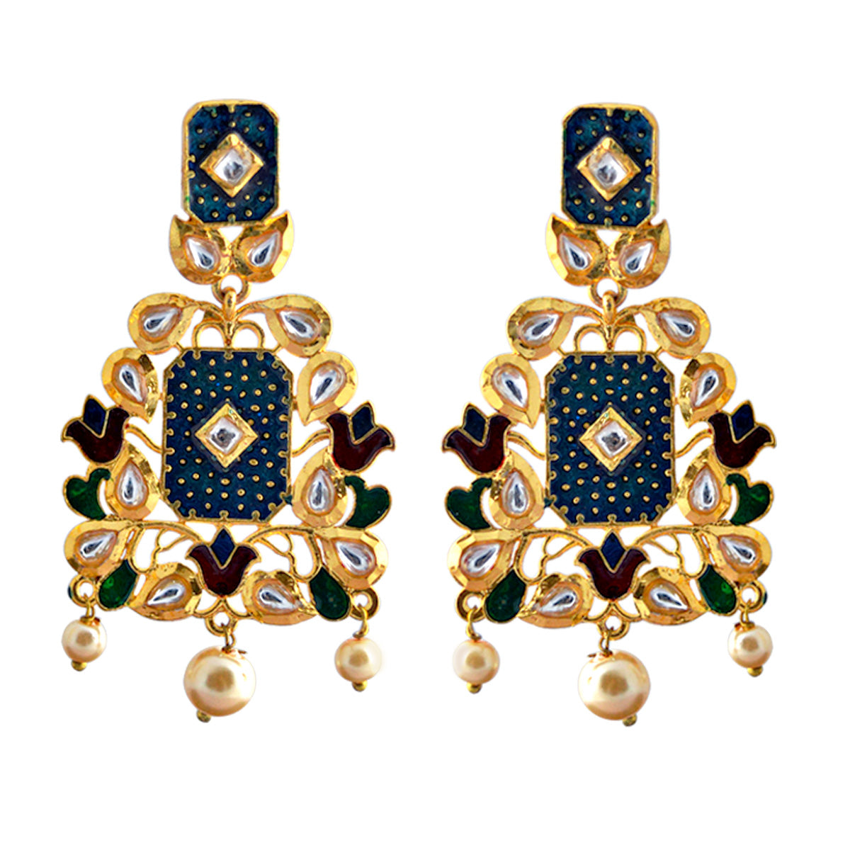 Mk Jewellers Multicolor Meenakari Kundan Dangler Earring-MK JEWELLERS1-Earring