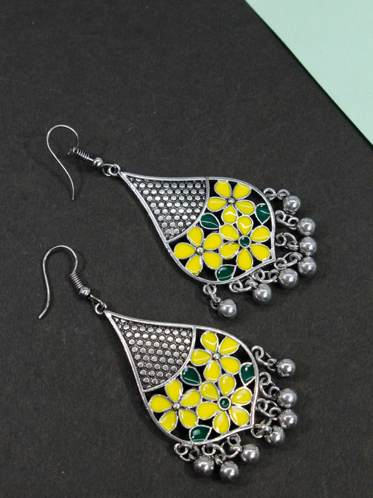 Aana Leaf Design Yellow And Blue Earring-AANA1-Earring