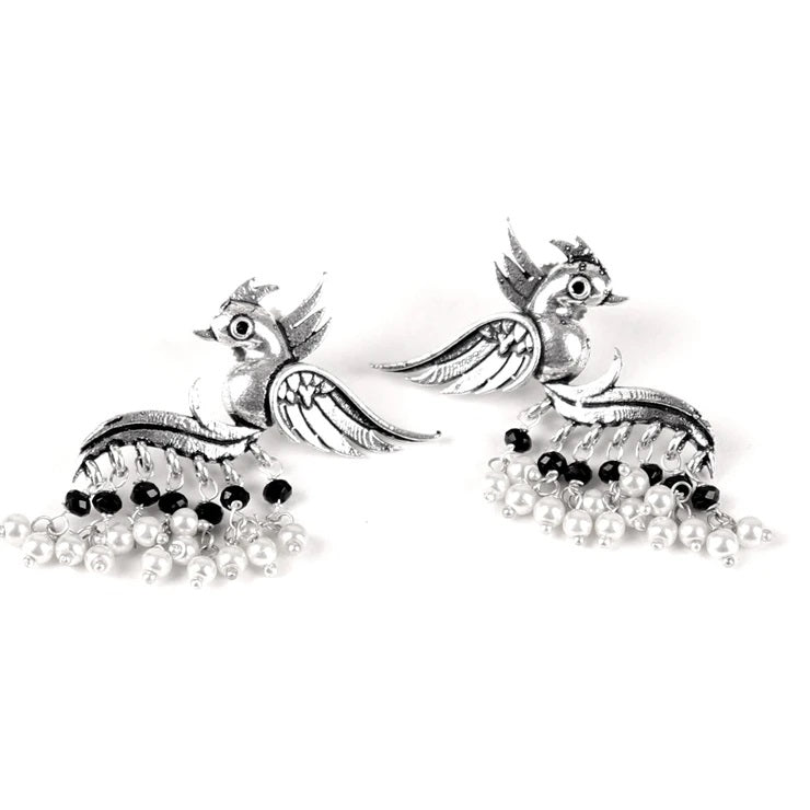 Cippele Fly With The Bird Silver Look Alike Earring With White And Black Color Pearls Dangler Earring-CIPPELE-Earring