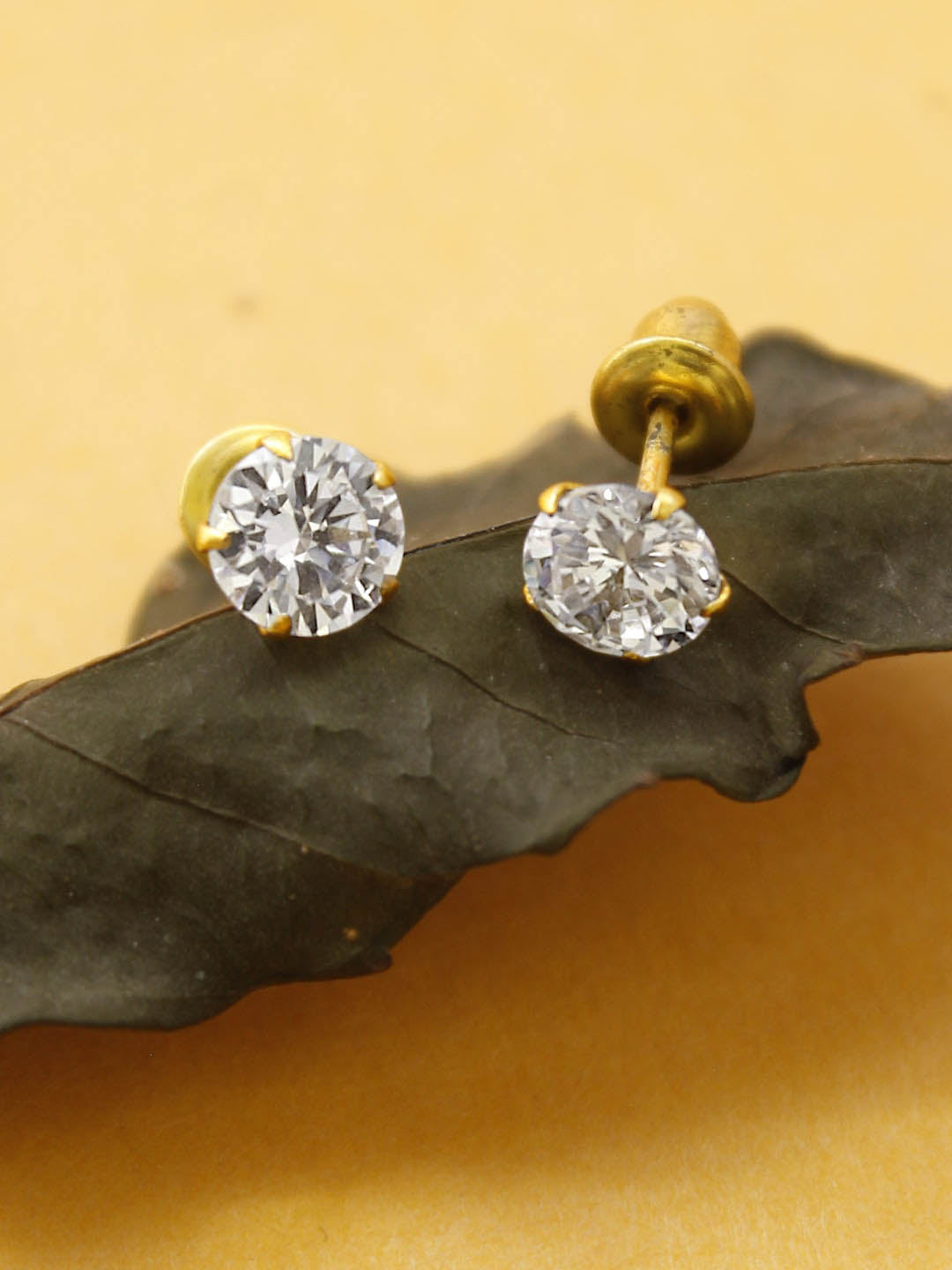 Avismaya Gold Tone With American Diamond Stone Stud Earring-AVISMAYA-Earring