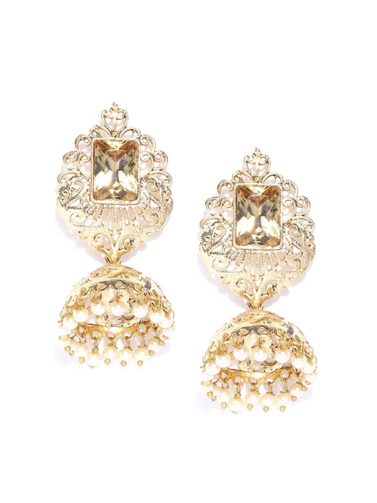 Zaveri Pearls Gold Tone Traditional Jhumki Earring