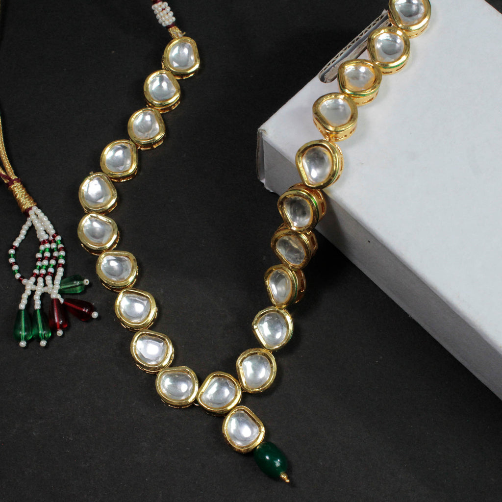 2 Sided Reversible Necklace Gold Plated With Precious Kundan Stones And Artificial Beads Choker Necklace Set