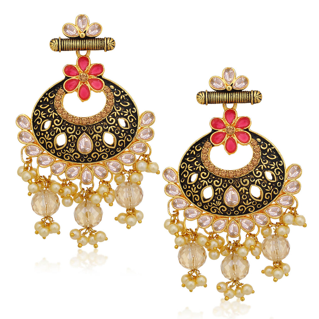 Sukkhi Exclusive LCT Stone Gold Plated Pearl Chandbali Earring For Women-SUKKHI1-Earring