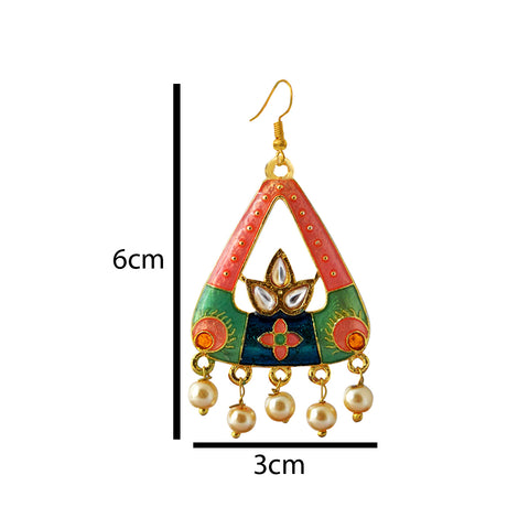 Mk Jewellers Pink And Green Color Meenakari Arched Design Dangler Earring